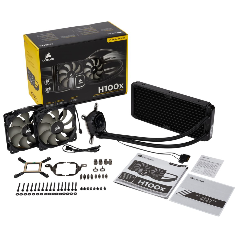 A large main feature product image of Corsair Hydro H100x AIO Liquid CPU Cooler