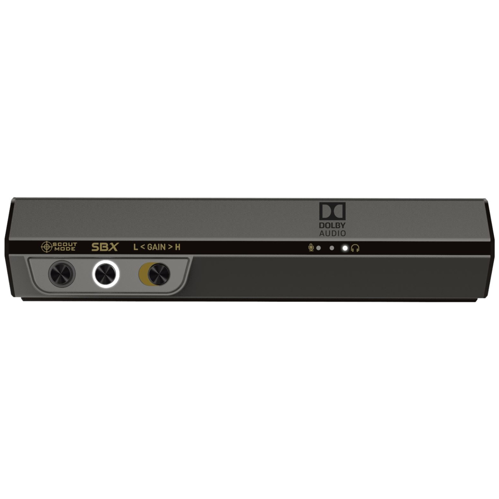 A large main feature product image of Creative Sound BlasterX G6 Hi-Res Gaming External Sound Card
