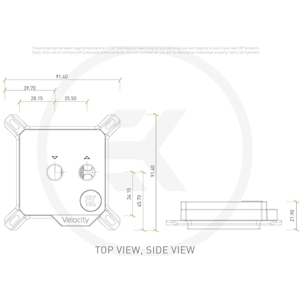 A large main feature product image of EK Velocity Nickel Plexi CPU Waterblock