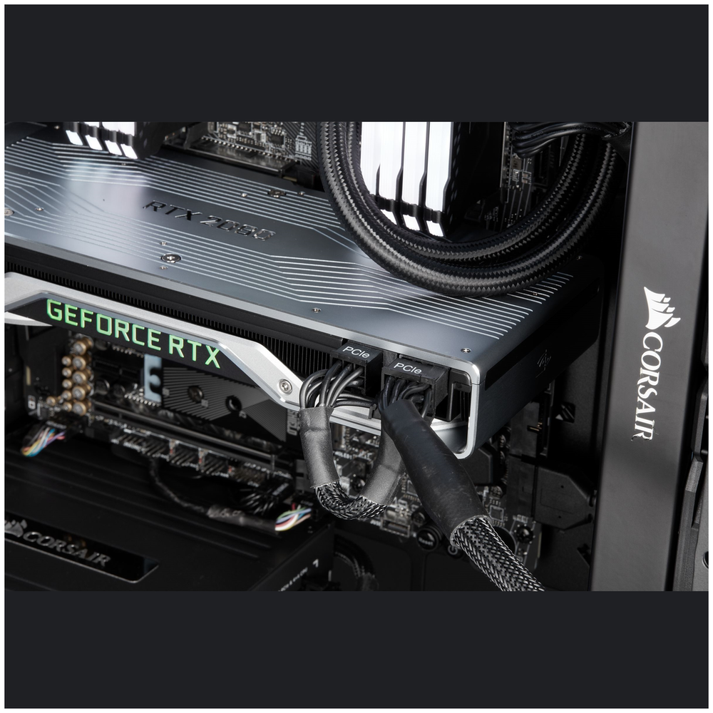 A large main feature product image of Corsair AX1000 1000W 80PLUS Titanium Modular Power Supply