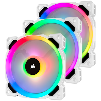 Product image of Corsair LL120 RGB White RGB PWM Fan Triple Pack w/Lighting Node Pro - Click for product page of Corsair LL120 RGB White RGB PWM Fan Triple Pack w/Lighting Node Pro