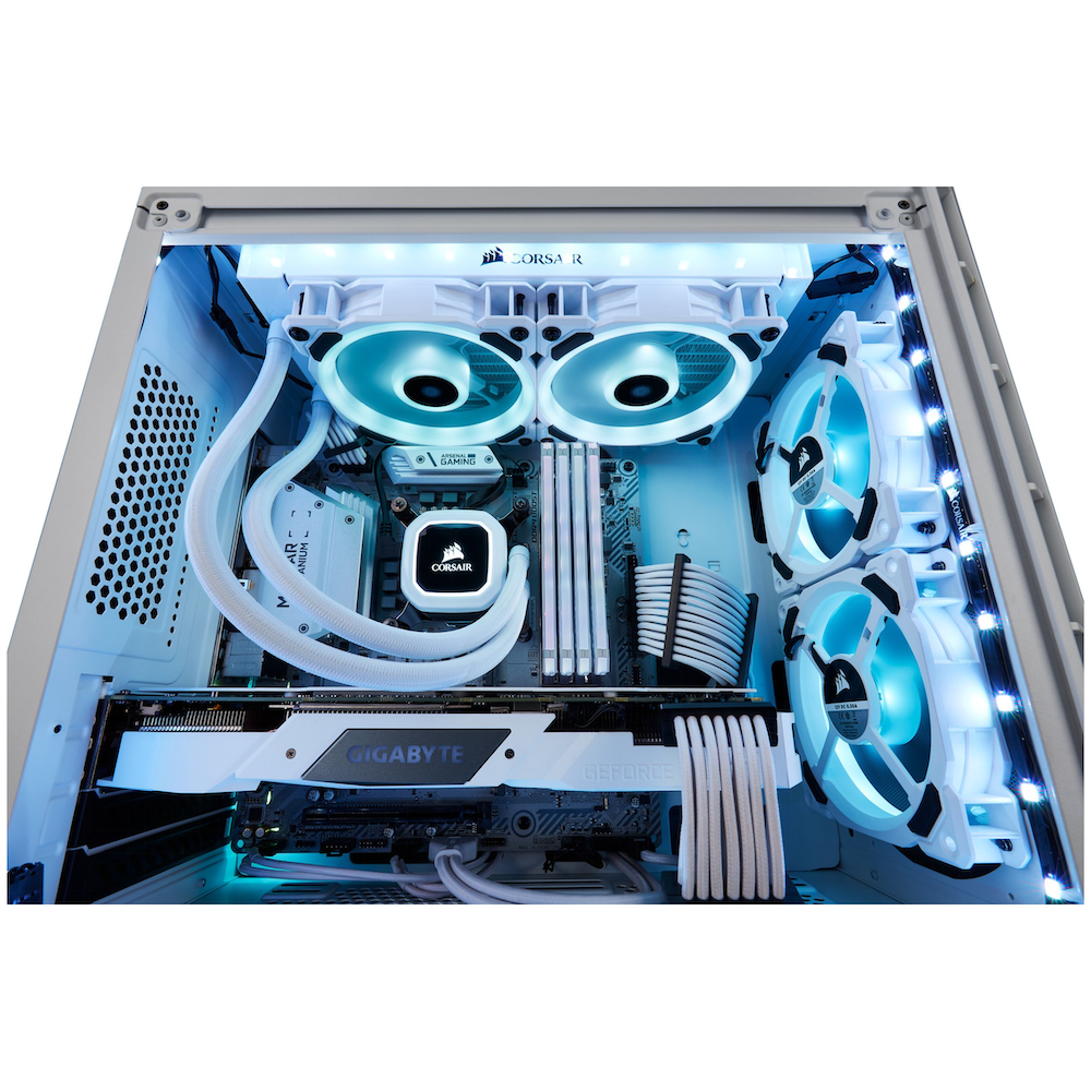 A large main feature product image of Corsair LL120 RGB White RGB PWM Fan Triple Pack w/Lighting Node Pro