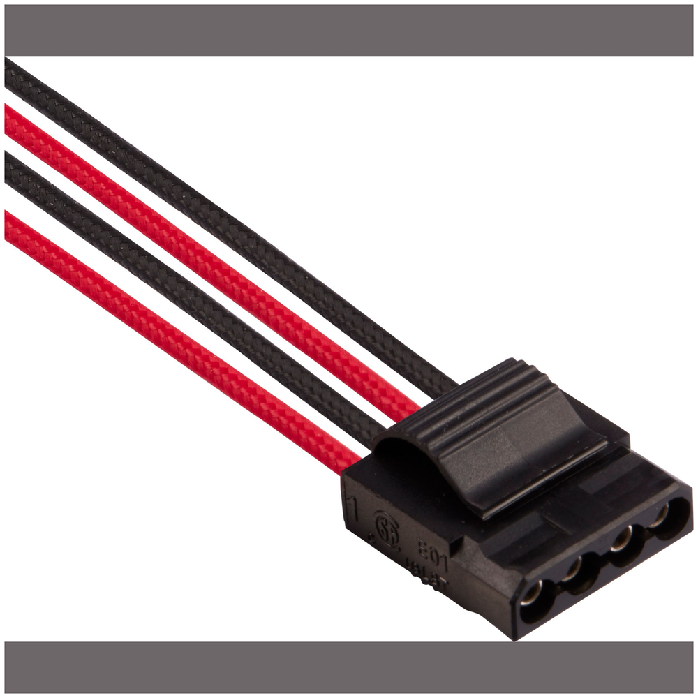 A large main feature product image of Corsair Premium Individually Sleeved Pro Cables Kit Type 4 Gen 4 - Red/Black