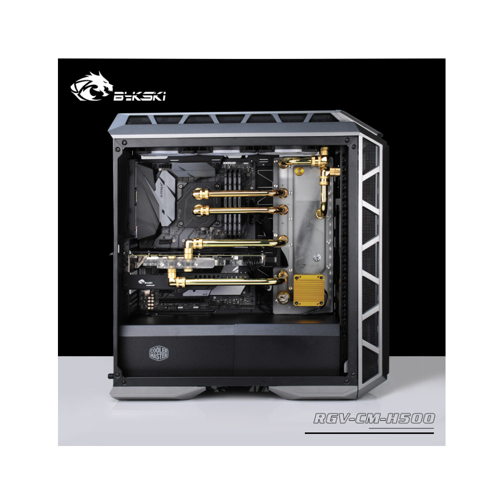 A large main feature product image of Bykski Cooler Master H500 Case RBW Water Distribution Board