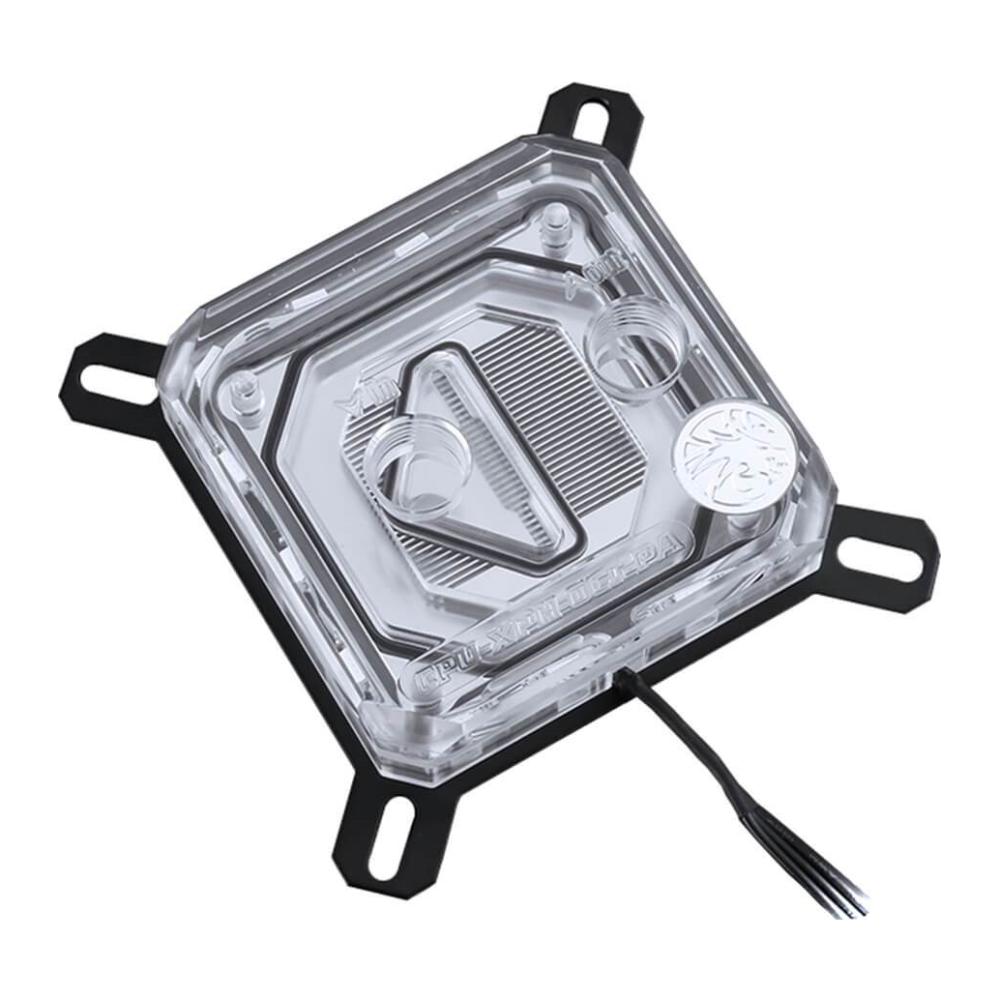 A large main feature product image of Bykski XPR Acrylic RBW LGA115x CPU Waterblock