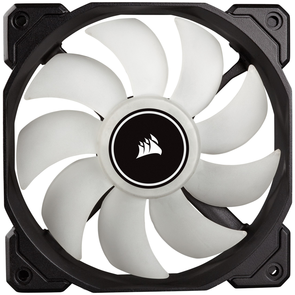 A large main feature product image of Corsair AF120 120mm Quiet Edition White LED Cooling Fan