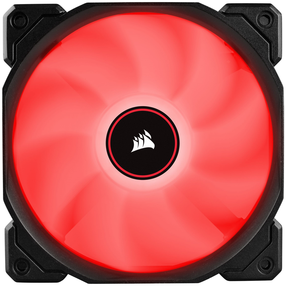 A large main feature product image of Corsair AF120 120mm Quiet Edition Red LED Cooling Fan