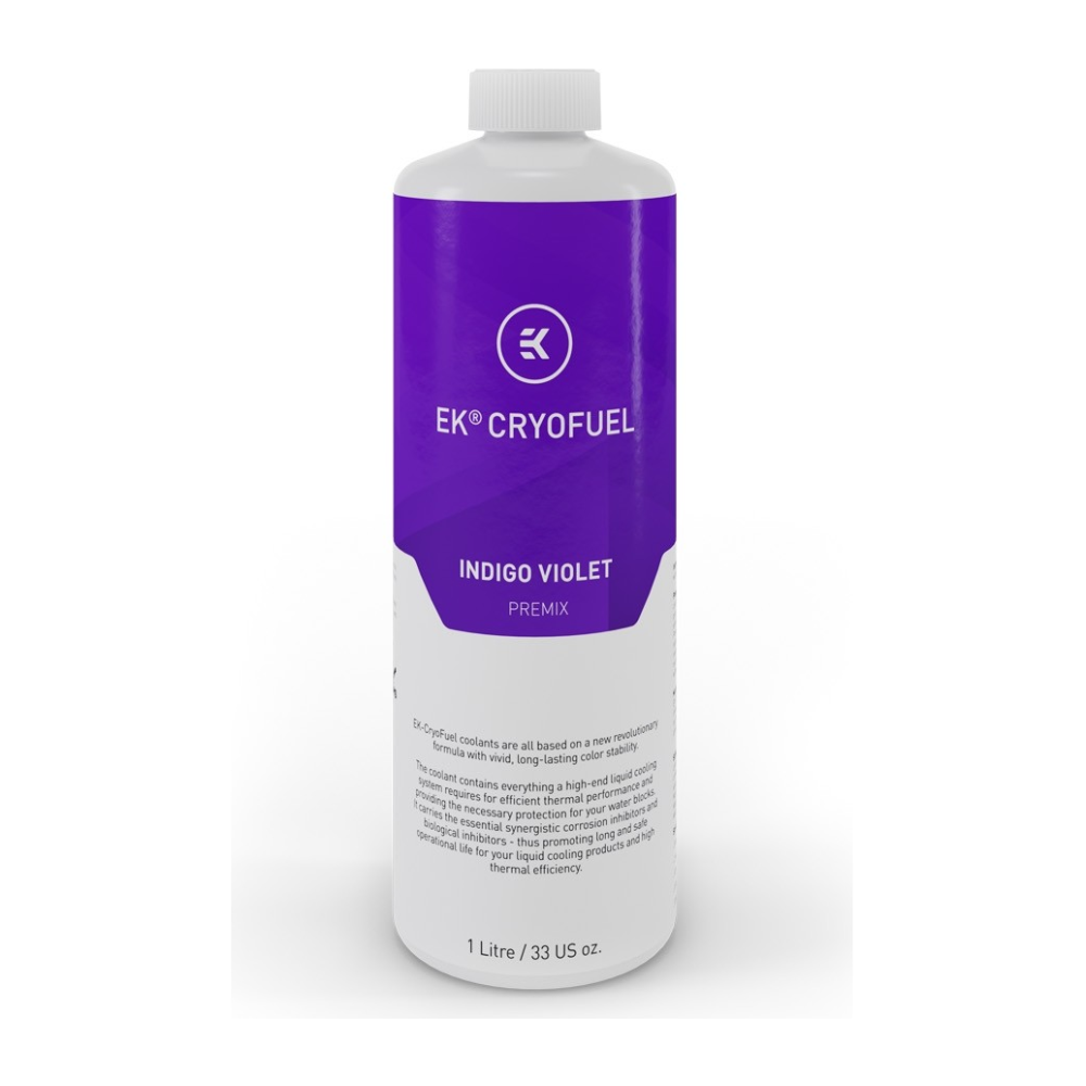 A large main feature product image of EK CryoFuel Indigo Violet 1L Premix Coolant