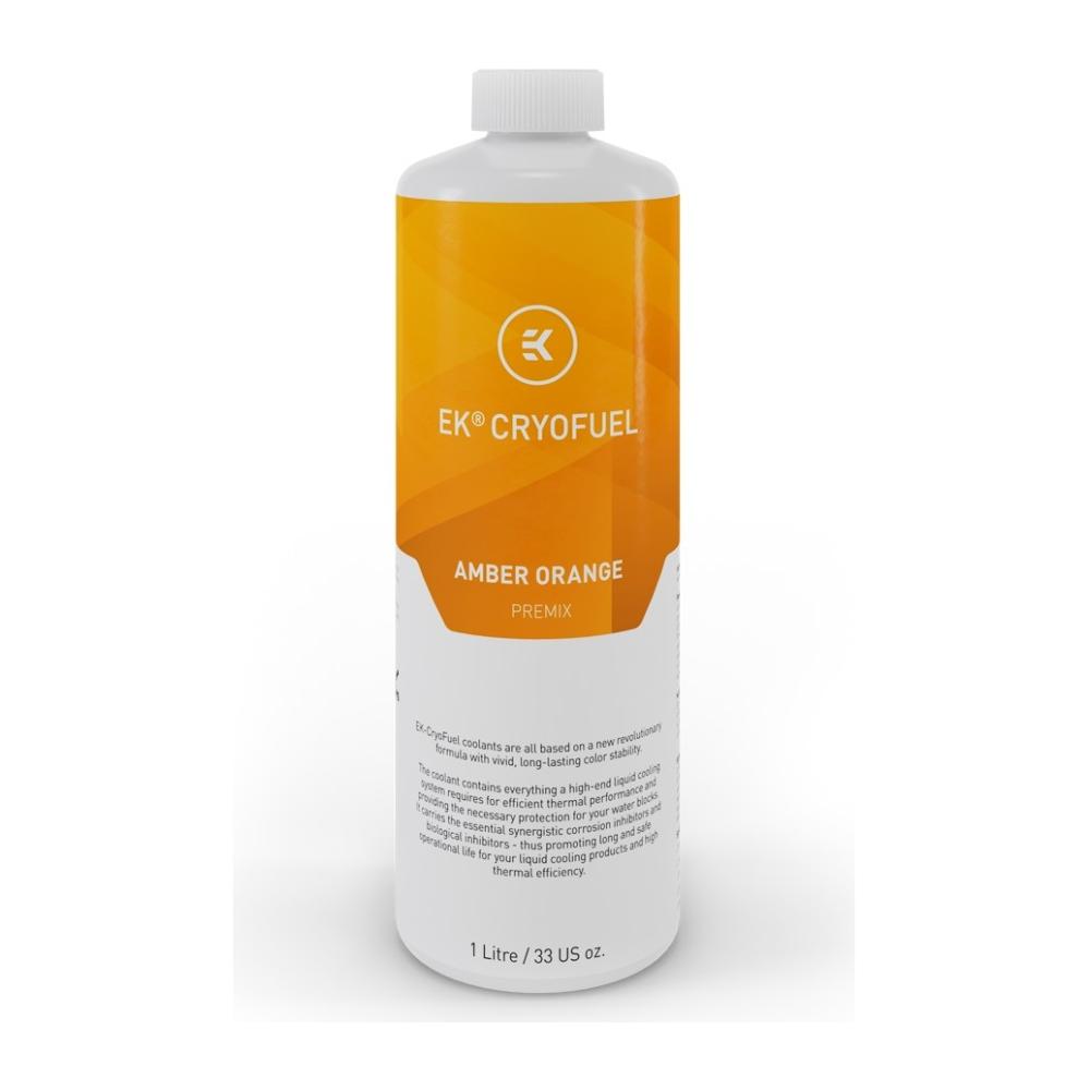 A large main feature product image of EK CryoFuel Amber Orange 1L Premix Coolant