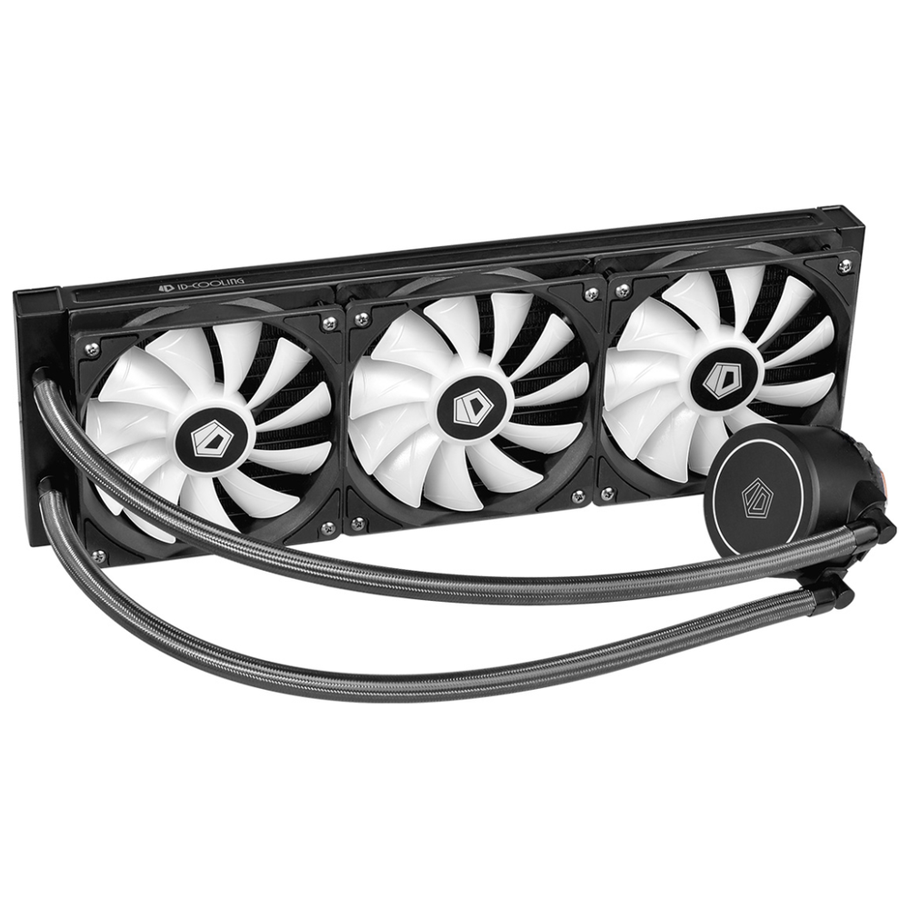 A large main feature product image of ID-COOLING AuraFlow X 360 RGB AIO CPU Liquid Cooler