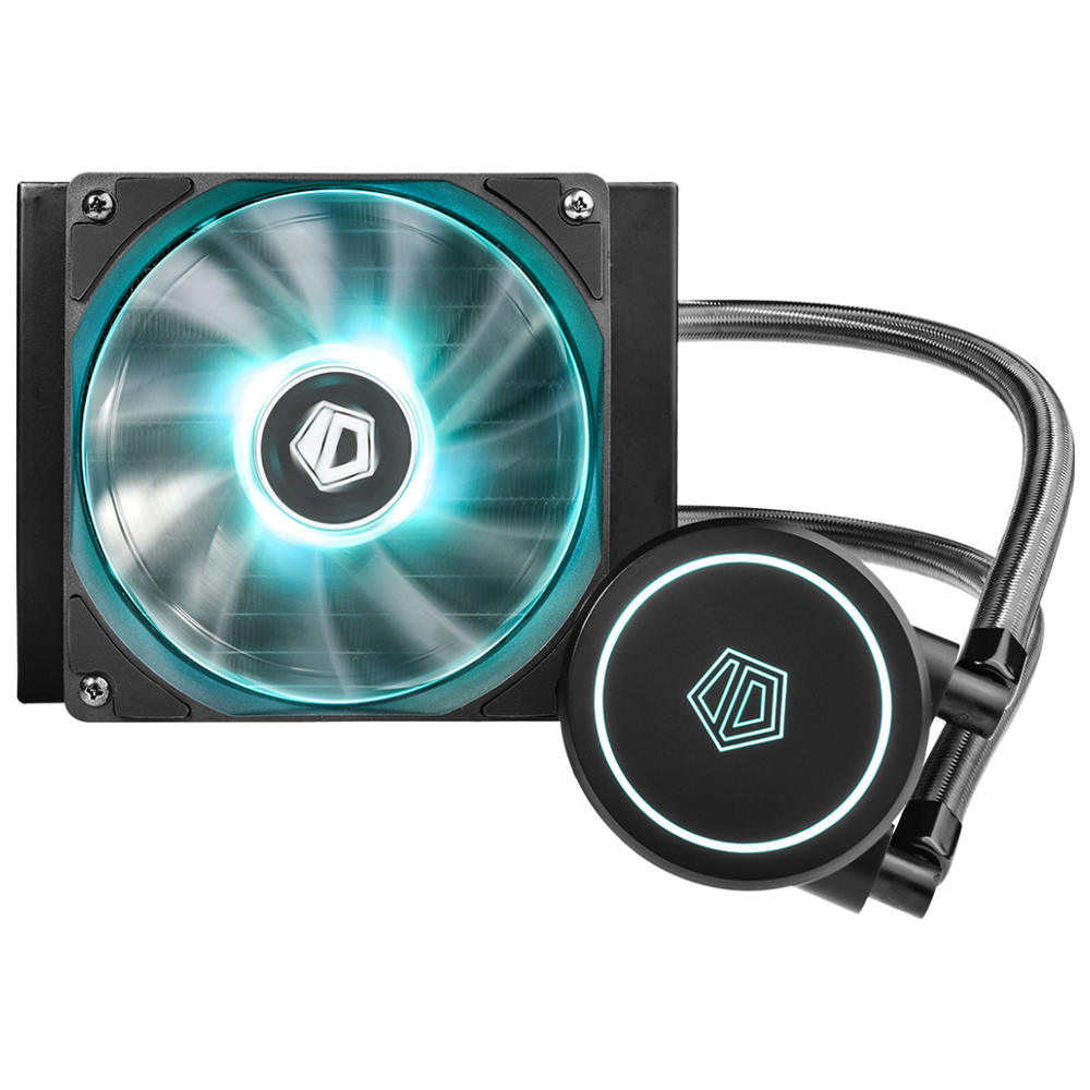 A large main feature product image of ID-COOLING AuraFlow X 120 RGB AIO CPU Liquid Cooler