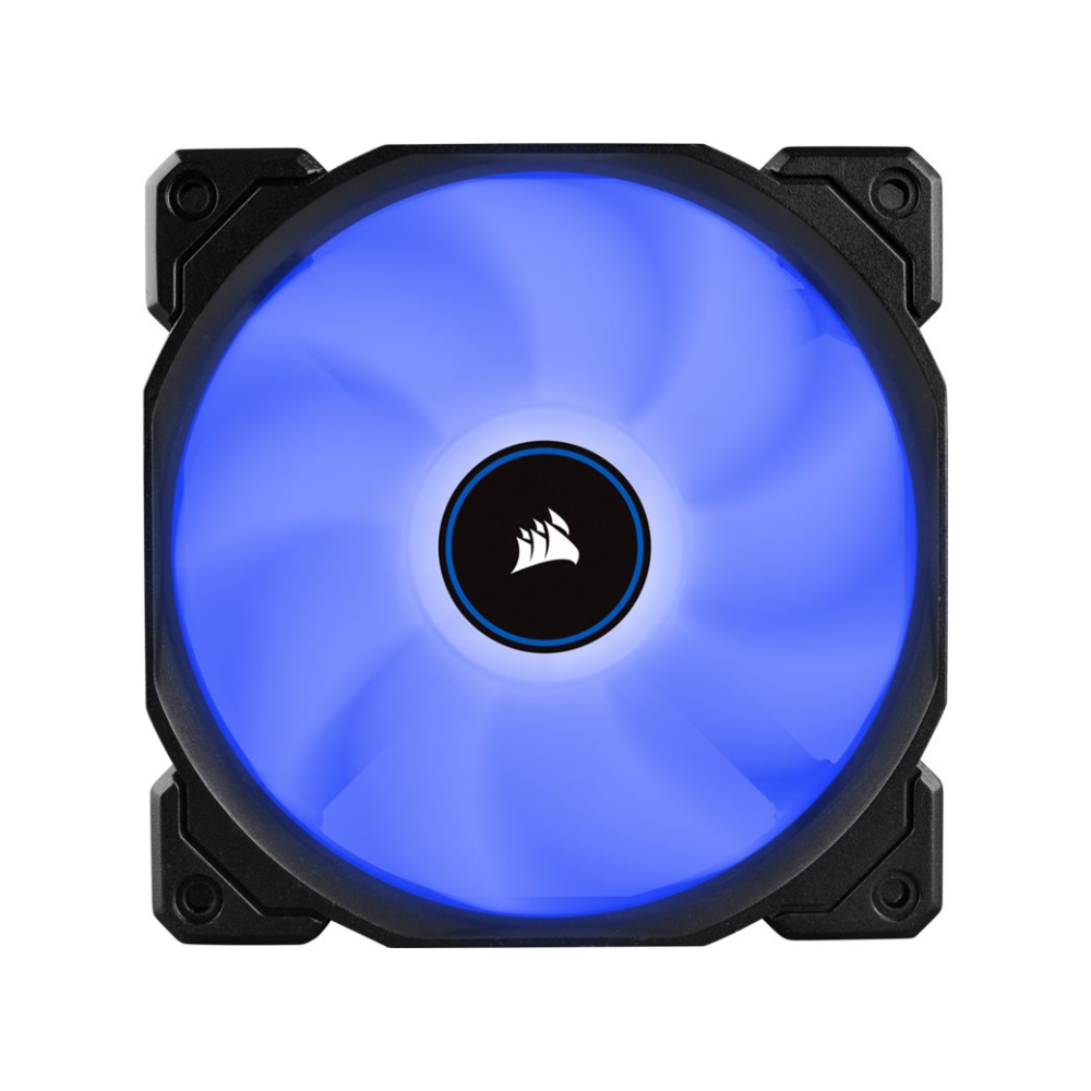A large main feature product image of Corsair AF120 120mm Quiet Edition Blue LED Cooling Fan