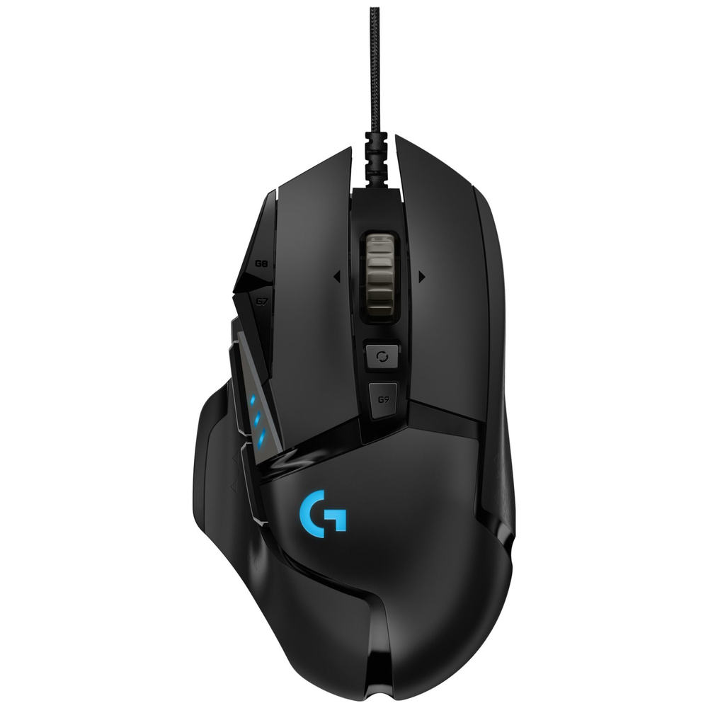 A large main feature product image of Logitech G502 HERO Optical Gaming Mouse