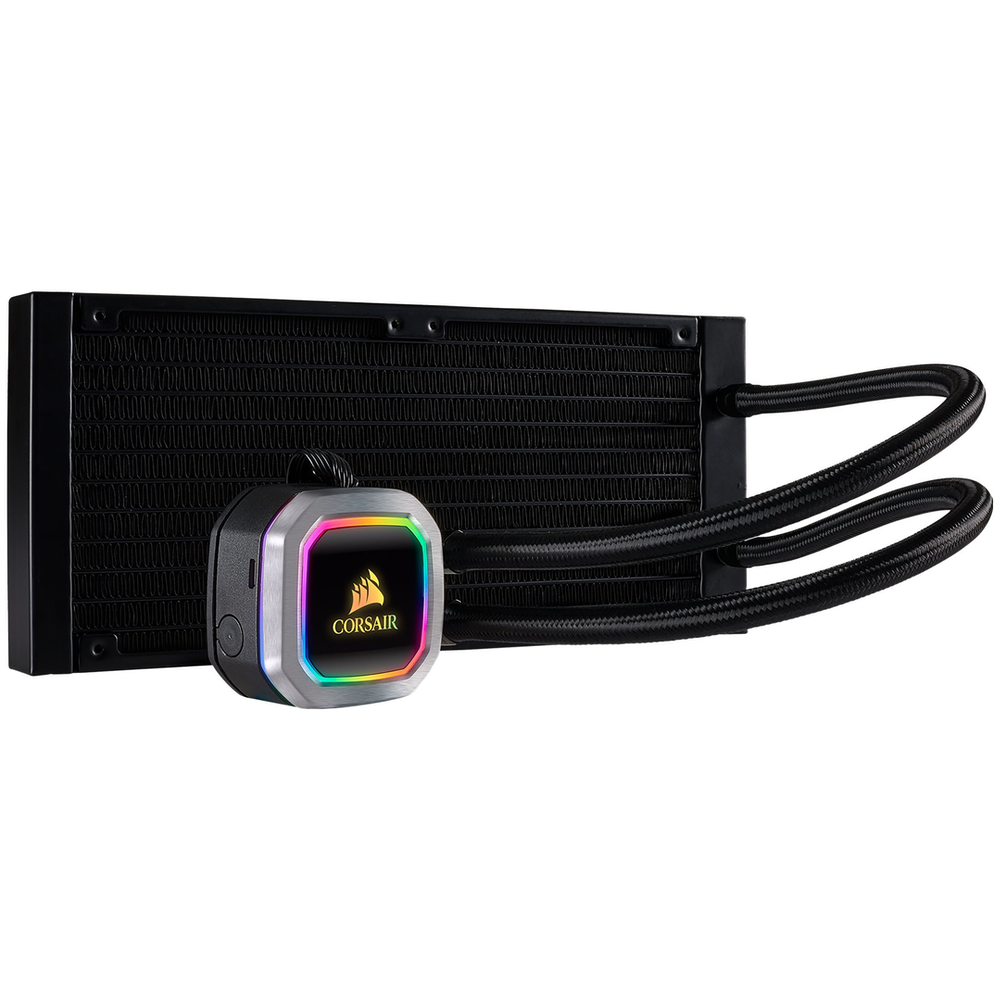 A large main feature product image of Corsair Hydro H100i RGB Platinum 240mm AIO Liquid CPU Cooler