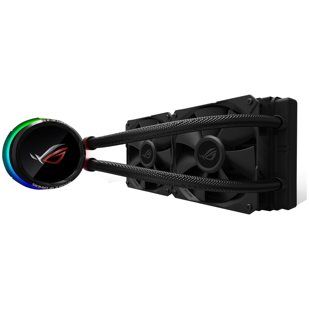 A large main feature product image of ASUS ROG RYUO 240 RGB AIO Liquid Cooler