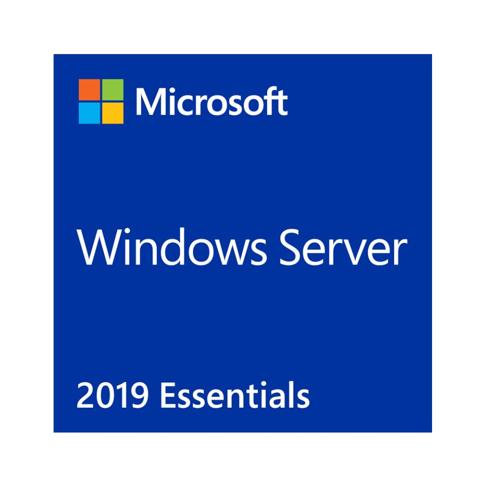 A large main feature product image of Microsoft Windows Server 2019 Essentials OEM 64-Bit