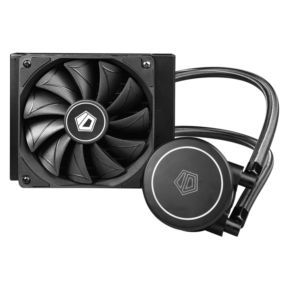 A large main feature product image of ID-COOLING FrostFlow X 120 White LED AIO CPU Liquid Cooler