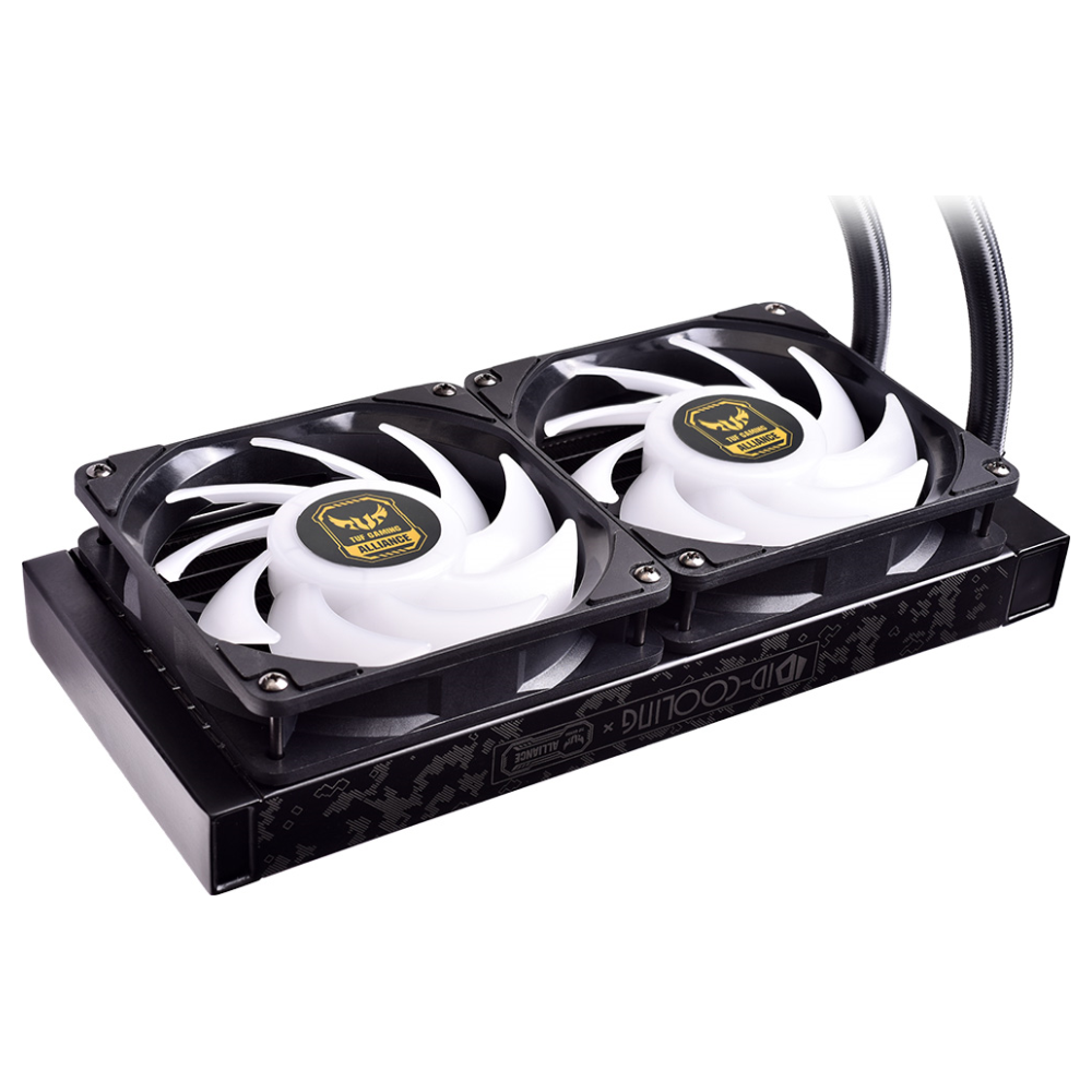 A large main feature product image of ID-COOLING AuraFlow X TUF Gaming Alliance 240 RGB AIO CPU Liquid Cooler