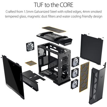 Product image of ASUS TUF Gaming GT501 E-ATX Mid Tower Case w/Tempered Glass Side Panel - Click for product page of ASUS TUF Gaming GT501 E-ATX Mid Tower Case w/Tempered Glass Side Panel