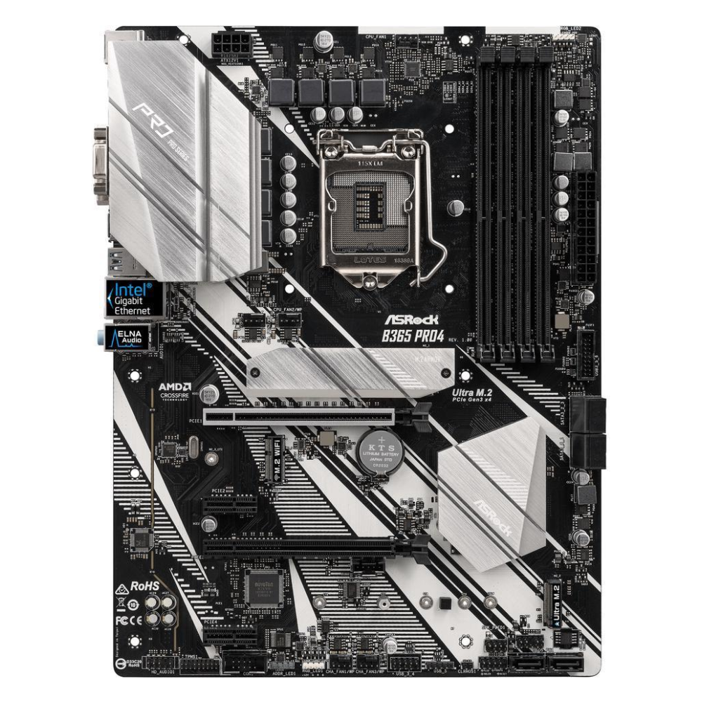 A large main feature product image of ASRock B365 Pro4 LGA1151-CL ATX Desktop Motherboard
