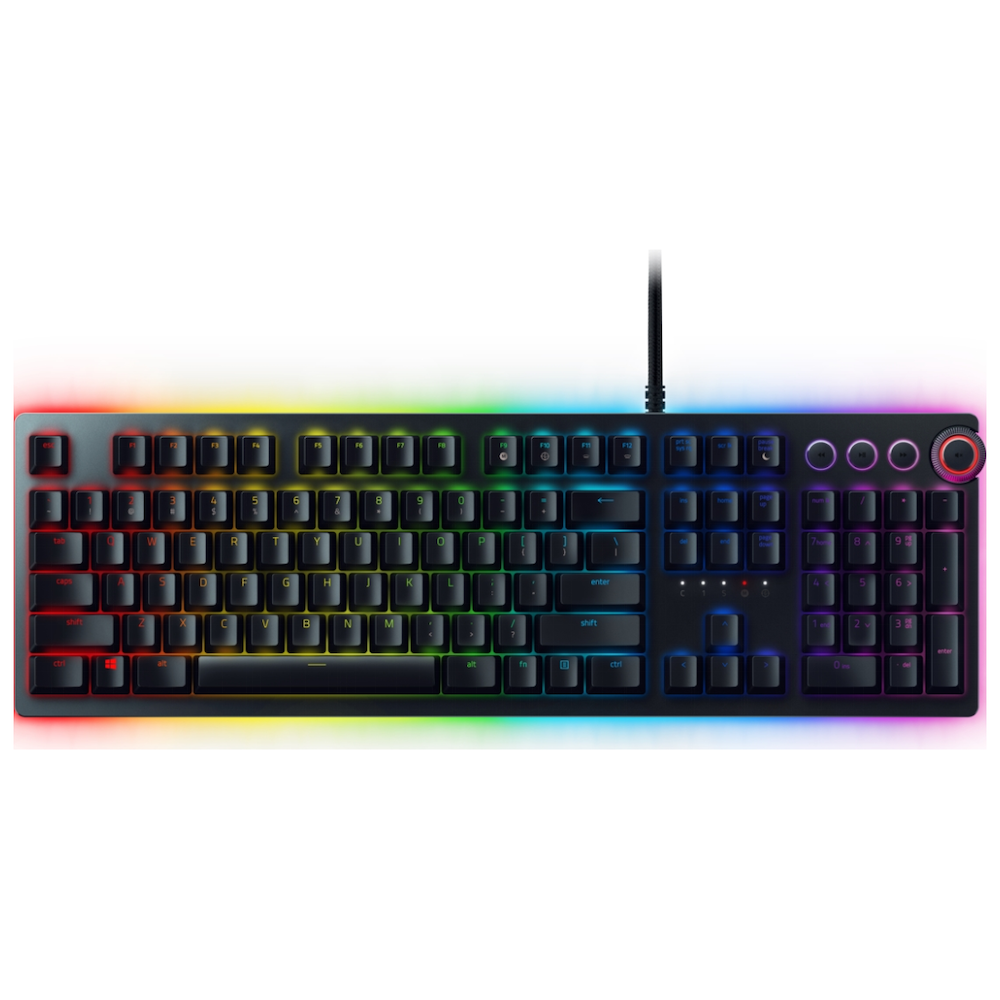 A large main feature product image of Razer Huntsman Elite Opto-Mechanical Switch Gaming Keyboard