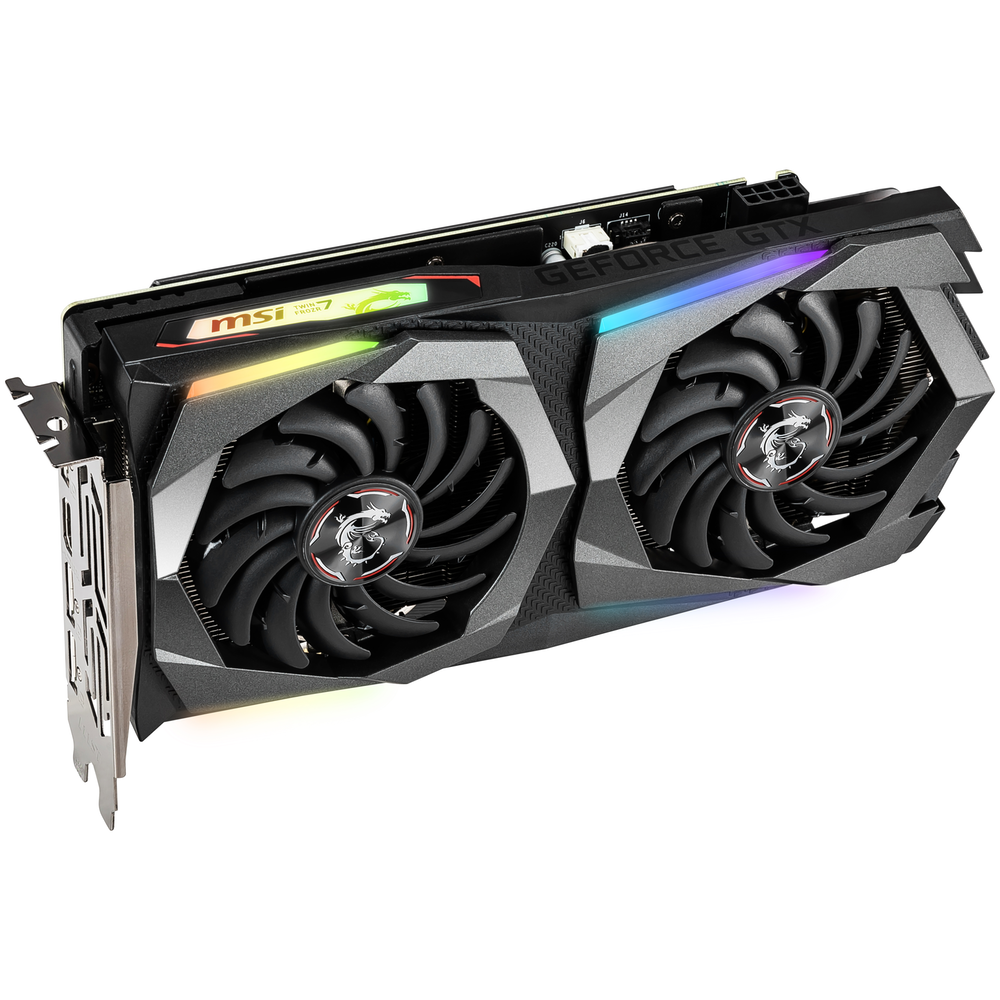 A large main feature product image of MSI GeForce GTX1660Ti Gaming X 6GB GDDR6