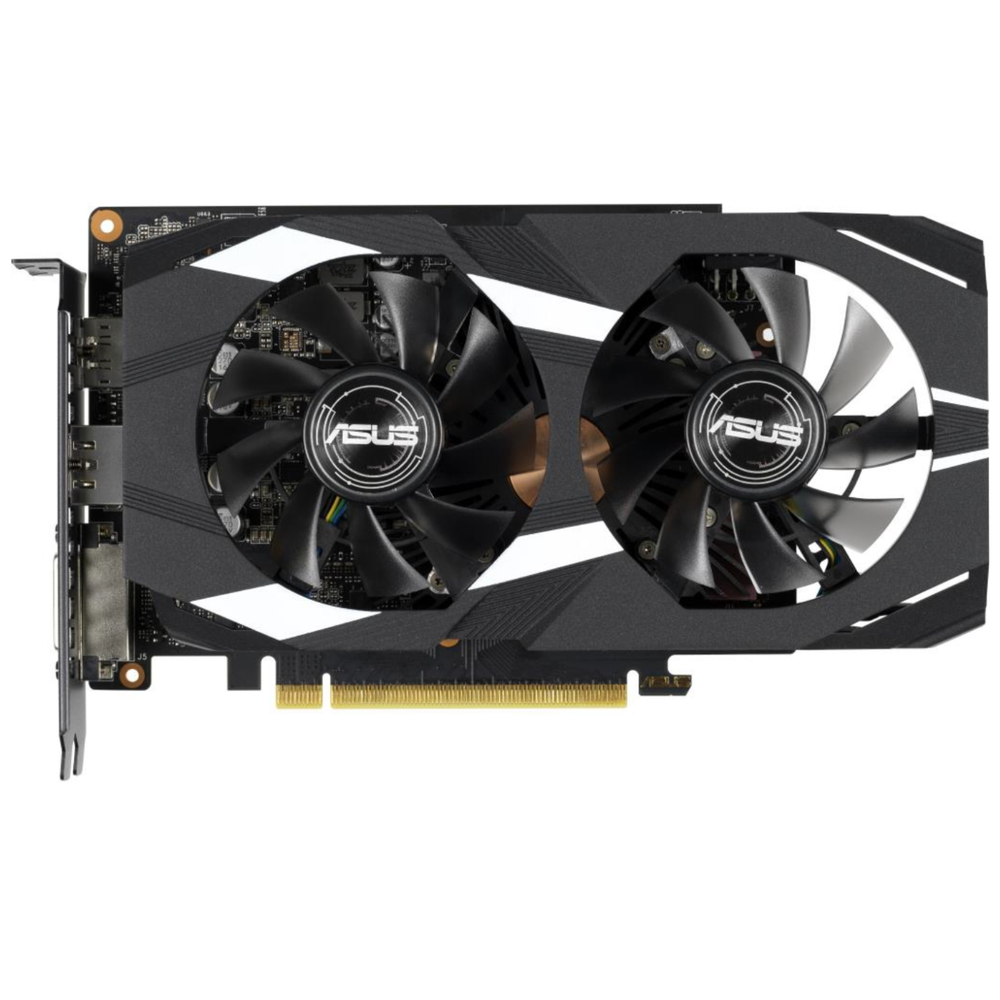 A large main feature product image of ASUS GeForce GTX1660Ti DUAL OC 6GB