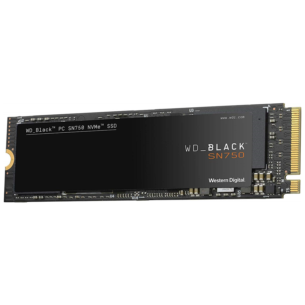 A large main feature product image of WD Black SN750 250GB 3D NAND NVMe M.2 SSD