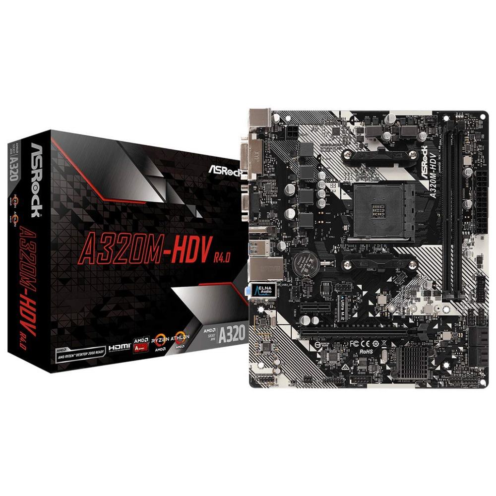 A large main feature product image of ASRock A320M-HDV R4.0 mATX AM4 Desktop Motherboard
