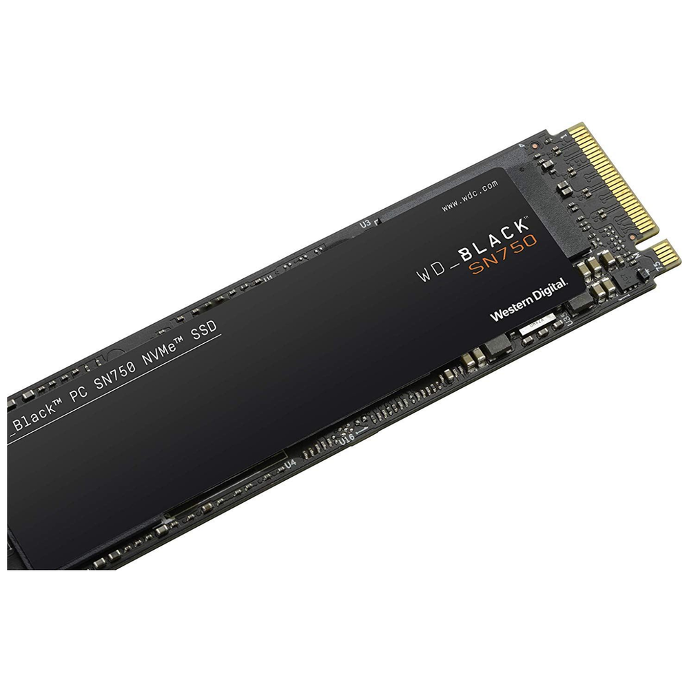 A large main feature product image of WD Black SN750 500GB 3D NAND NVMe M.2 SSD
