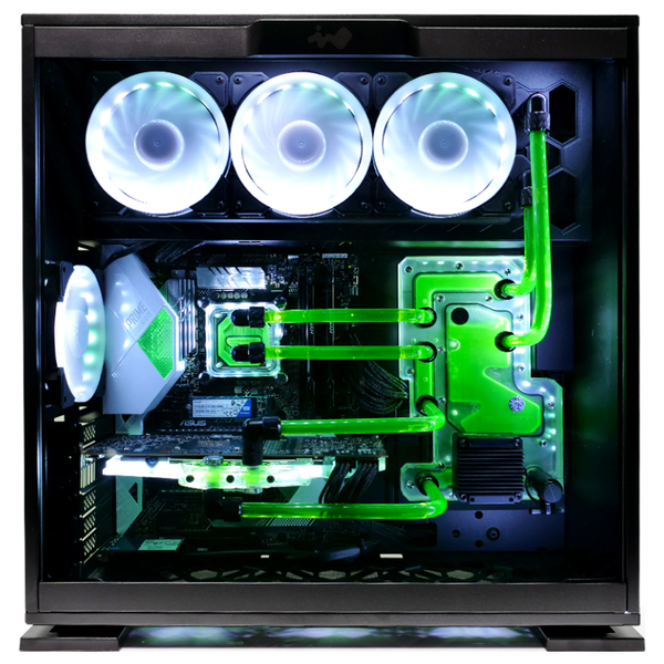 A large main feature product image of PLE Aqua Custom Built Watercooled Gaming PC