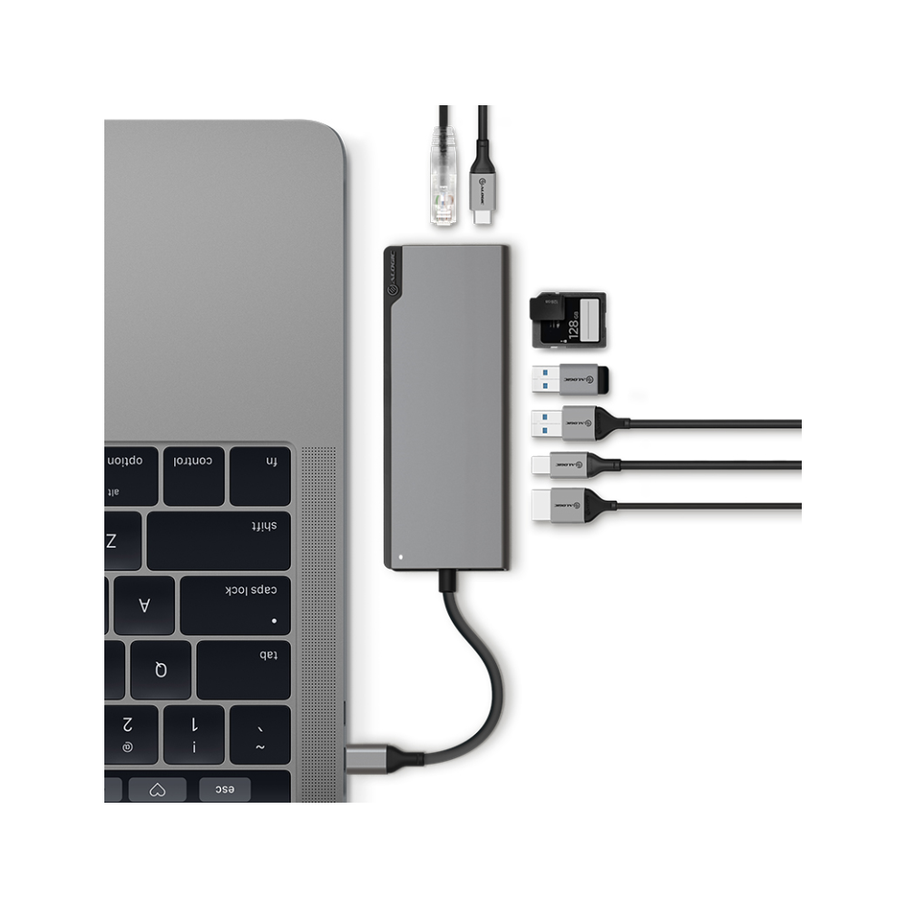 A large main feature product image of ALOGIC Ultra Plus USB-C Universal Dock w/ Power Delivery - Space Grey