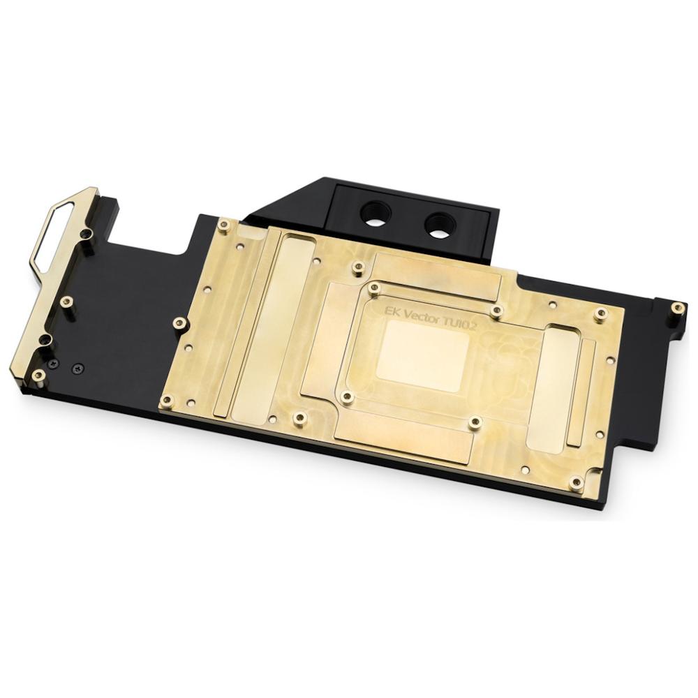 A large main feature product image of EK Vector RTX Titan Acetal/Gold GPU Waterblock