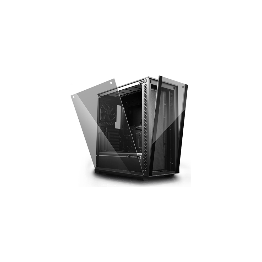 A large main feature product image of Deepcool Matrexx 70 Mid Tower Case w/ Tempered Glass Side Panel