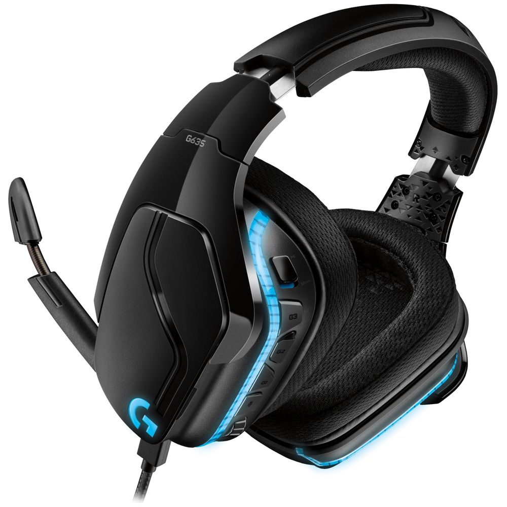 A large main feature product image of Logitech G635 7.1 Wired Surround Sound Gaming Headset