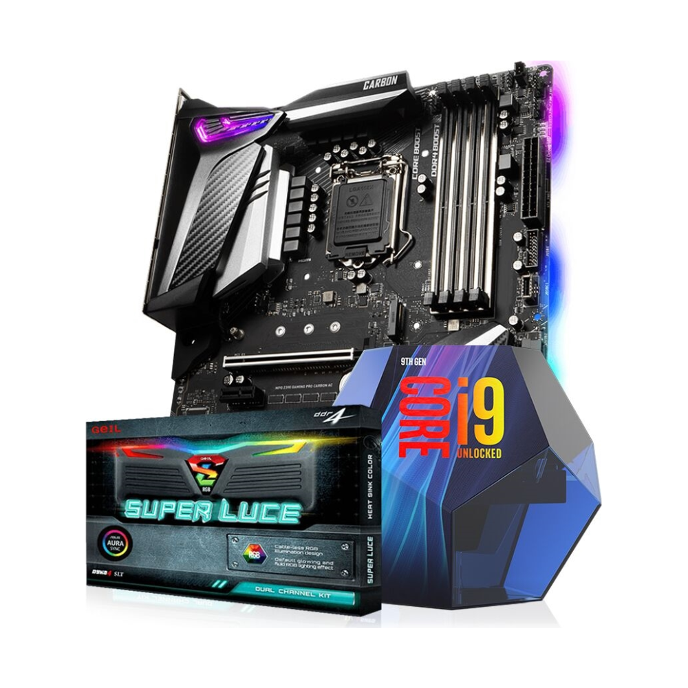 A large main feature product image of Intel 9th Gen Z390 Super Enthusiast Bundle