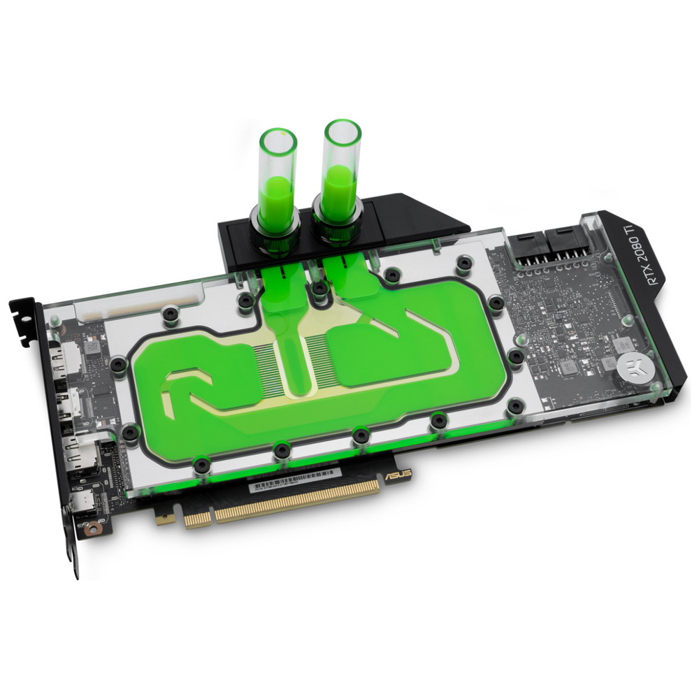A large main feature product image of EK Vector RTX RE TI RGB Nickel/Plexi Waterblock