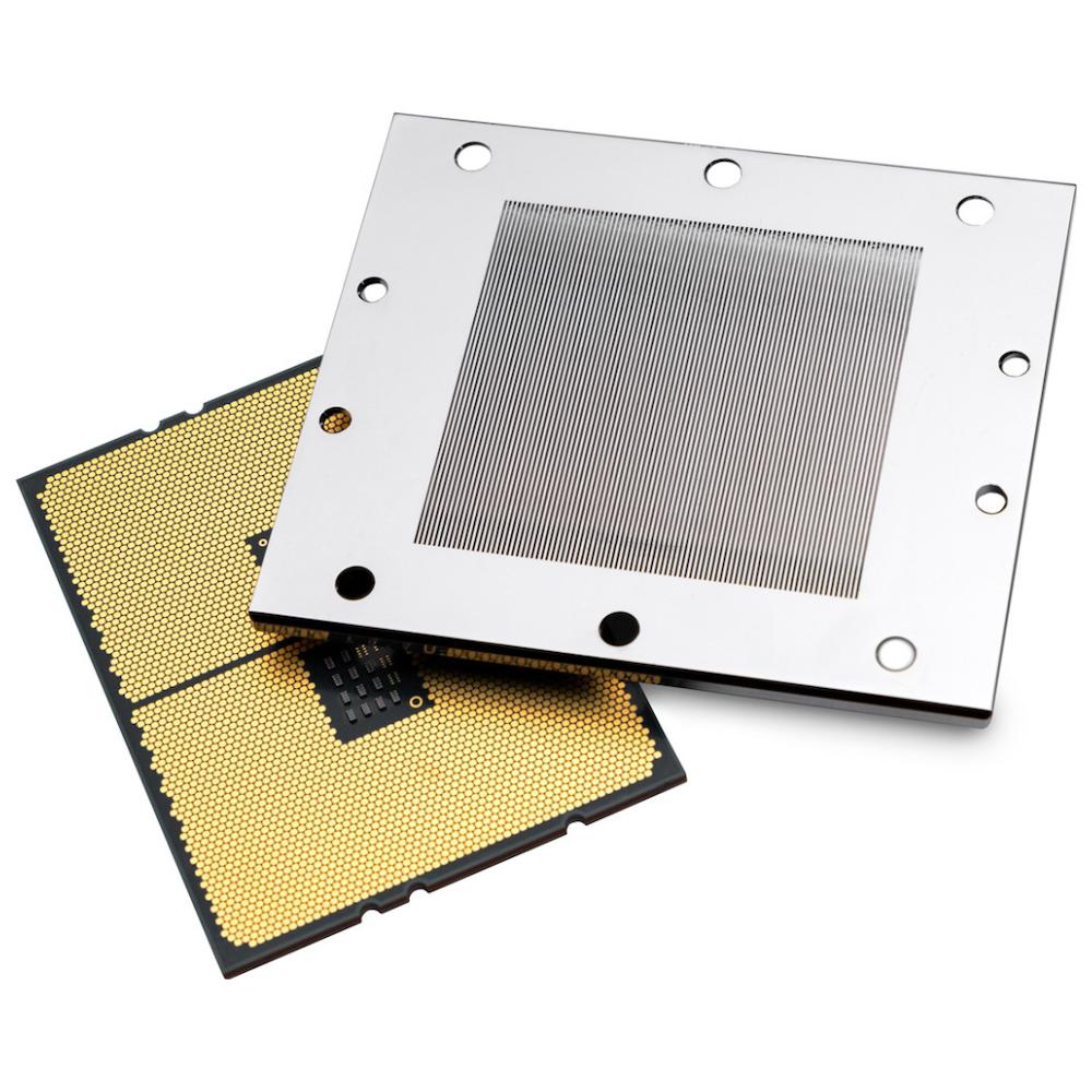 A large main feature product image of EK Velocity TR4/TRX4 D-RGB Nickel/Acetal CPU Waterblock