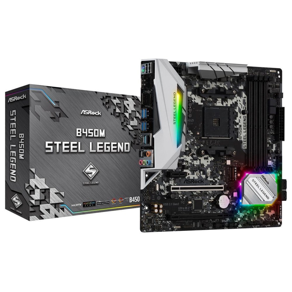 A large main feature product image of ASRock B450M Steel Legend AM4 mATX Desktop Motherboard