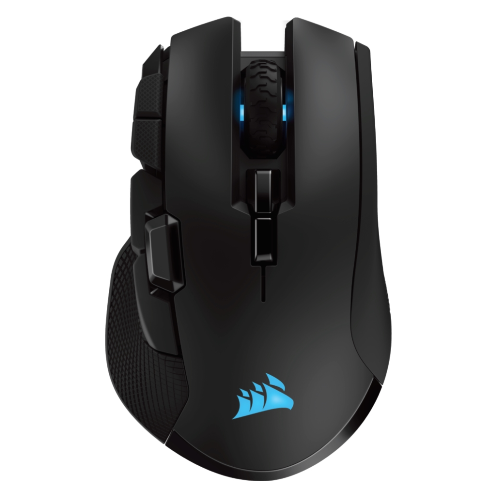 A large main feature product image of Corsair Ironclaw RGB Black Wireless Gaming Mouse