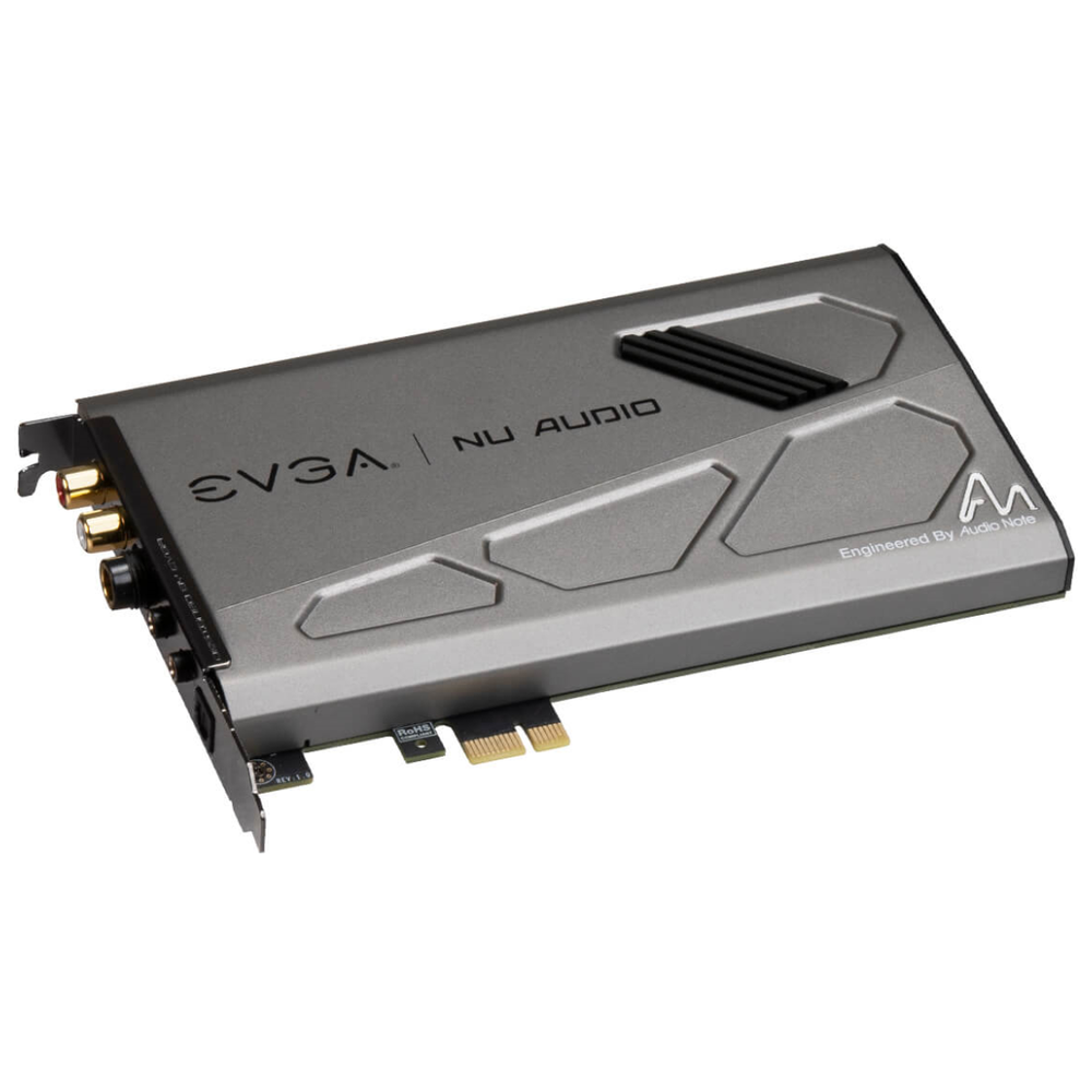 A large main feature product image of eVGA Nu Audio PCIe Sound Card