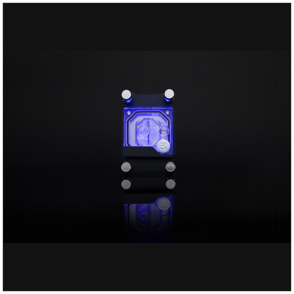 A large main feature product image of EK Supremacy Classic RGB AMD Nickel/Plexi CPU Waterblock
