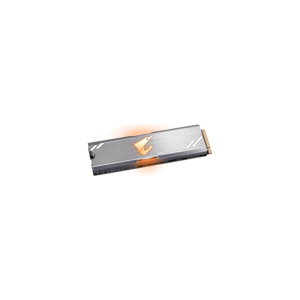 A large main feature product image of Gigabyte AORUS 512GB RGB M.2 NVMe SSD