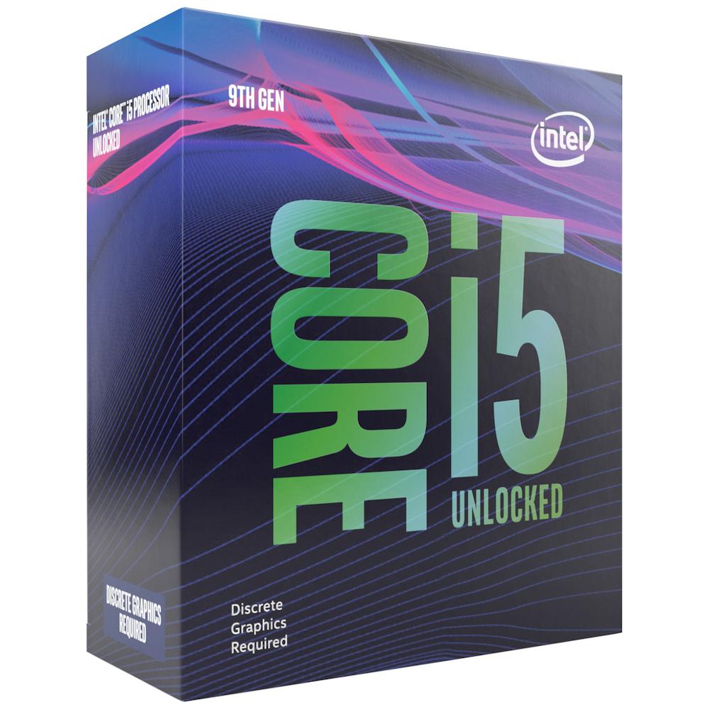 A large main feature product image of Intel Core i5 9600KF 3.7Ghz Coffee Lake R 6 Core 6 Thread LGA1151-CL - No HSF/No iGPU Retail Box