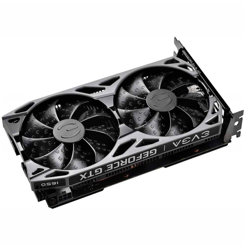 A large main feature product image of eVGA GeForce GTX1650 SC Ultra 4GB GDDR5