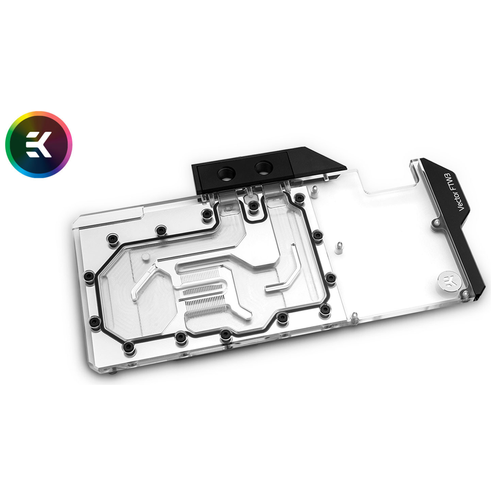 A large main feature product image of EK Vector FTW3 RTX 2080TI RGB Nickel/Plexi Waterblock