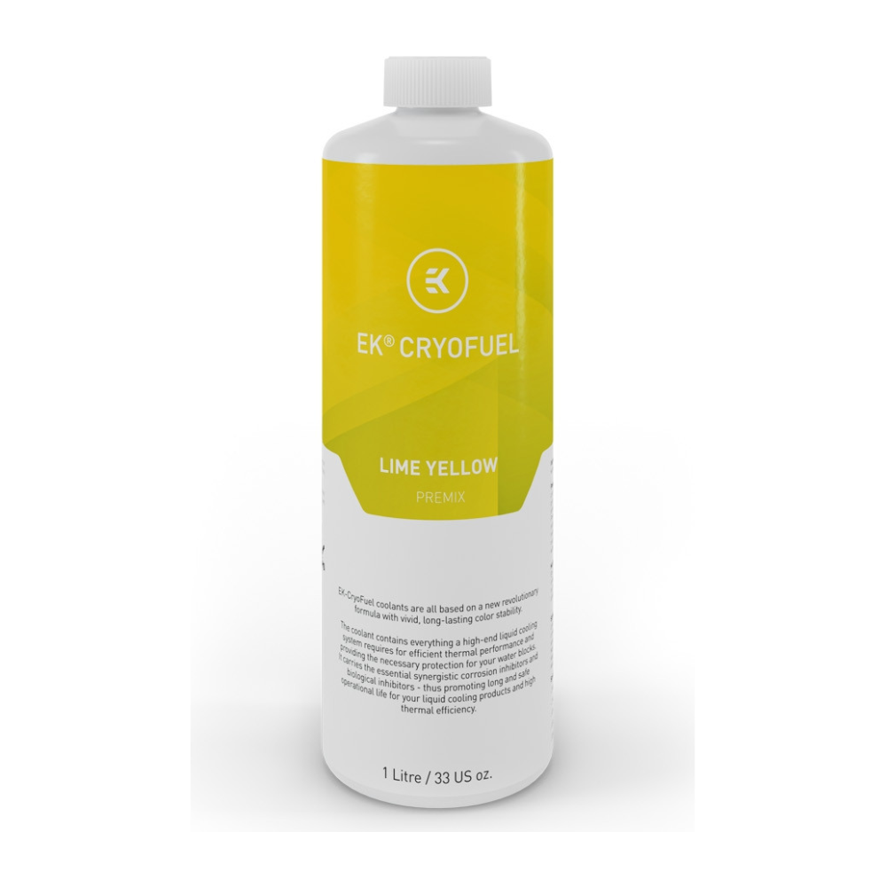 A large main feature product image of EK CryoFuel Lime Yellow 1L Premix Coolant