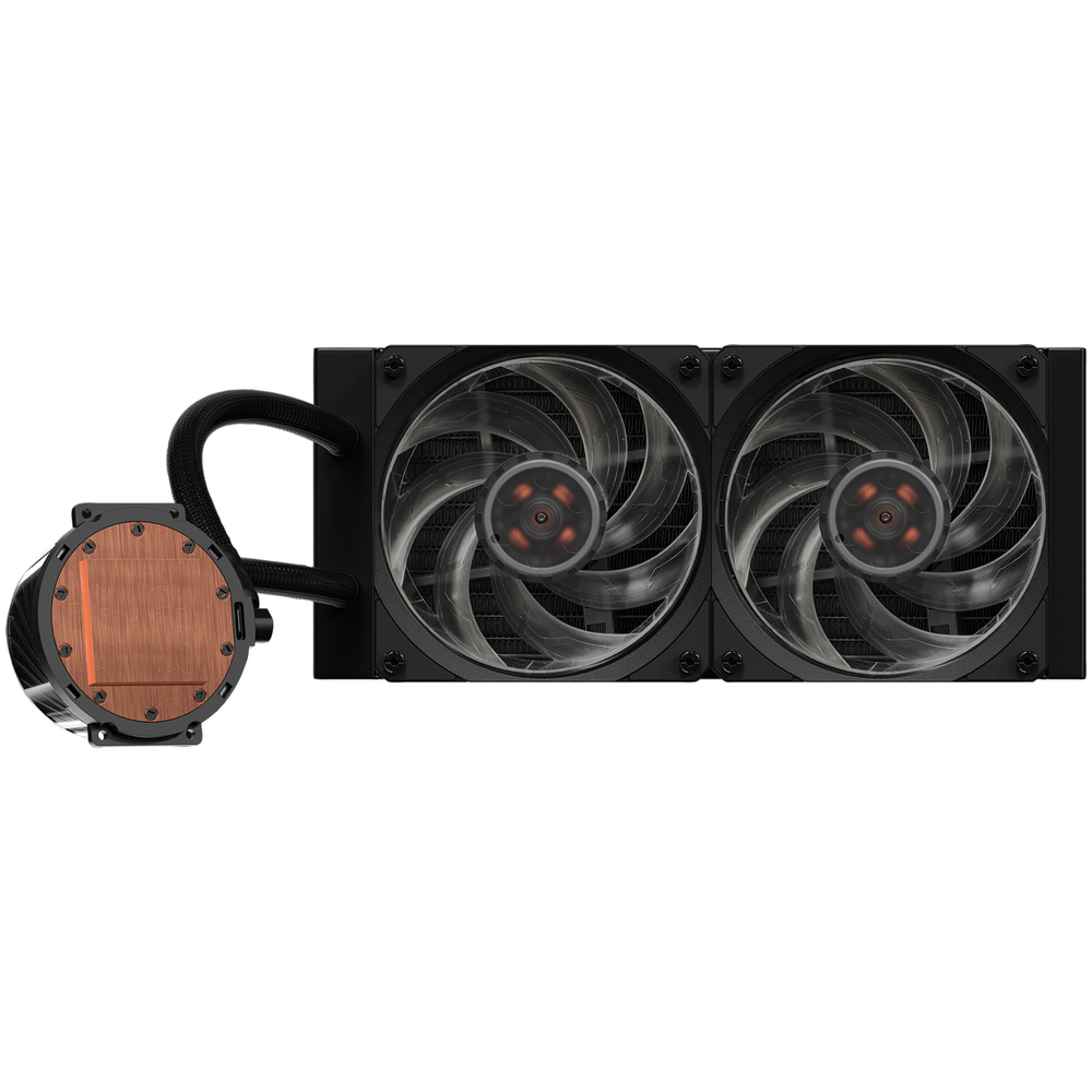 A large main feature product image of Cooler Master MasterLiquid ML240P Mirage Addressable RGB AIO Liquid Cooler