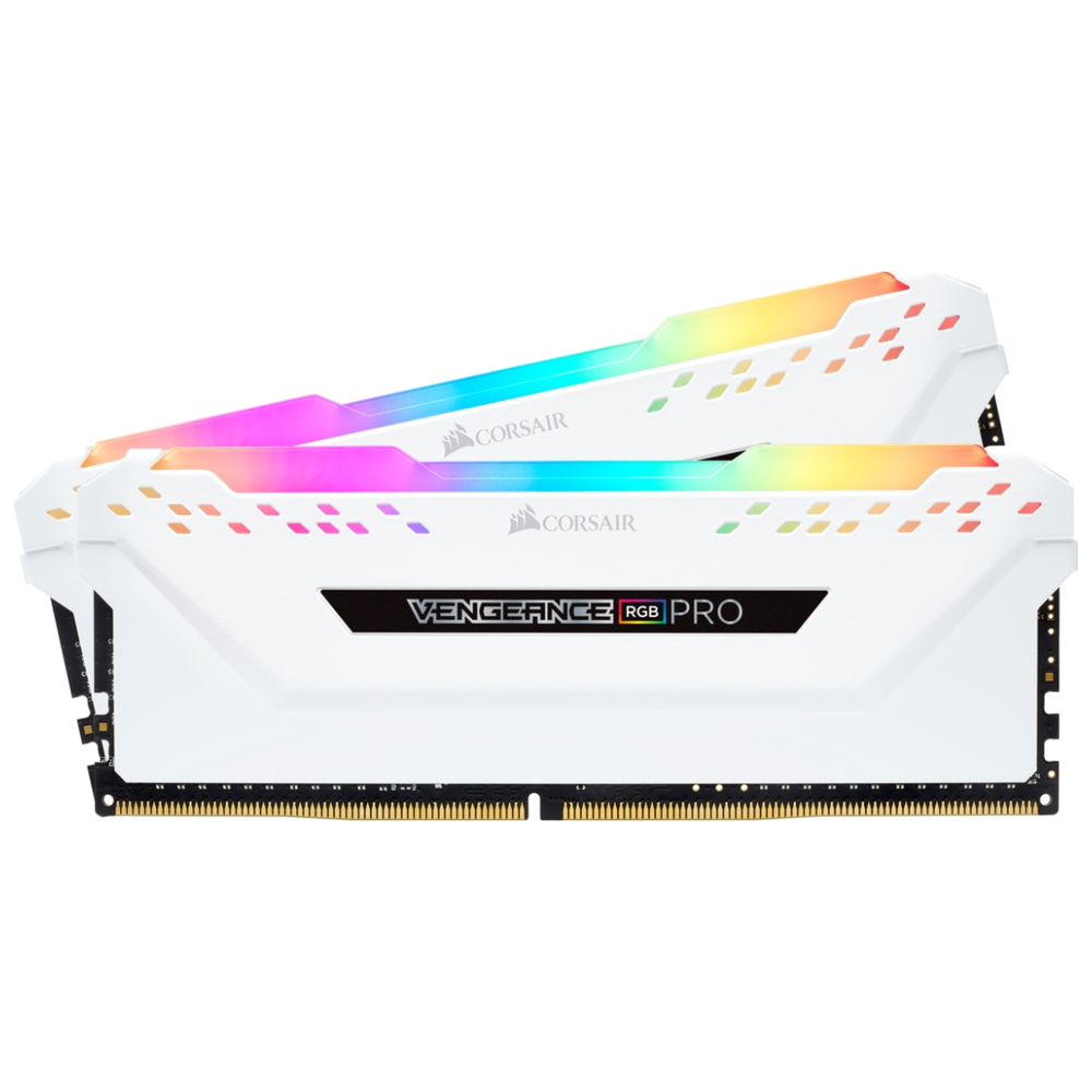 A large main feature product image of Corsair 16GB Kit (2x8GB) DDR4 Vengeance RGB PRO C16 3200Mhz - White