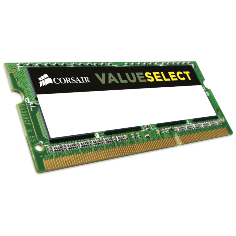 A large main feature product image of Corsair 8GB DDR3 VS SO-DIMM C11 1600Mhz